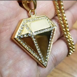 Other - Big Diamond Shape Necklace Gold over Stainless